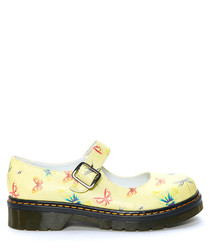 Yellow & pink butterfly print shoes
