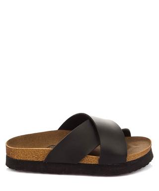 ebc30b135421 Black crossover strap slider sandals Sale - Fox Shoes Sale