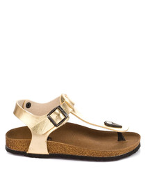 Gold-tone buckle T-bar sandals
