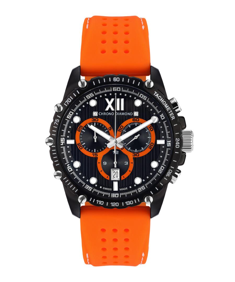 Neelos orange & black diamond watch Sale - chrono diamond