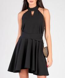 Black keyhole skater dress