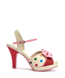Angie multi-coloured polka dot heels