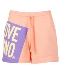 Peach & purple pure cotton logo shorts