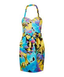 Multi-coloured tie dye mini dress