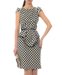 Milk cotton blend tiled peplum dress
