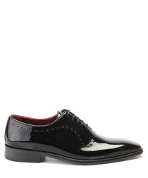 Black patent leather perforated Oxfords