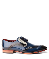 Dark blue patent leather brogues