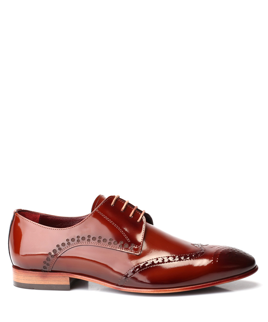 Tobacco patent leather Derby shoes Sale - deckard