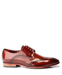 Tobacco patent leather Derby shoes