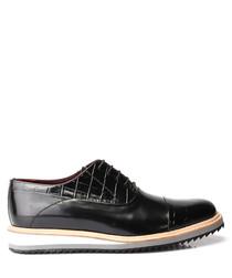Black leather moc-croc lace-up shoes