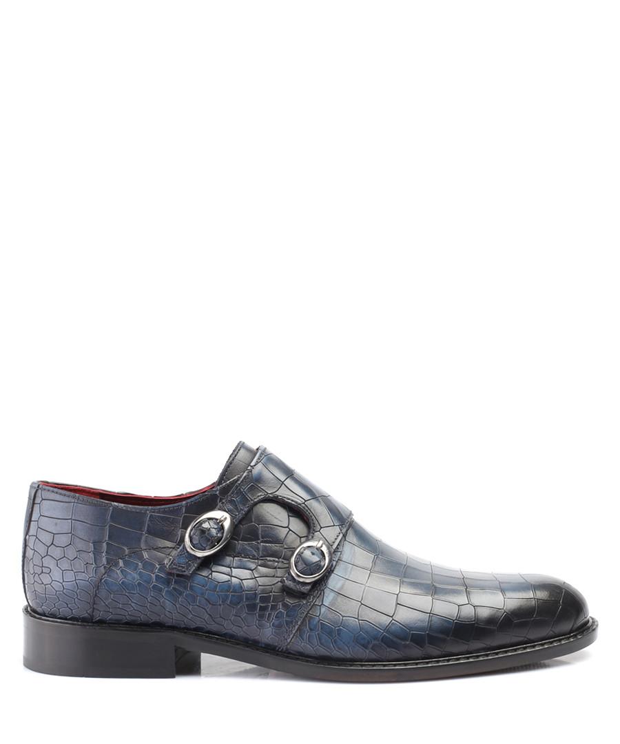 Navy leather moc-croc double monkstraps Sale - deckard