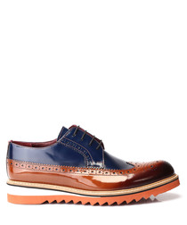 Blue & tan leather contrast sole brogues