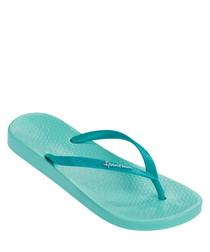 Womens Tropical aqua flip flops