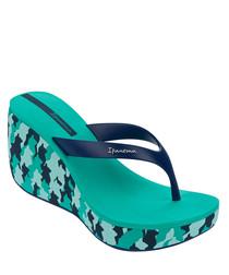 Womens Lipstick blue wedge flip flops