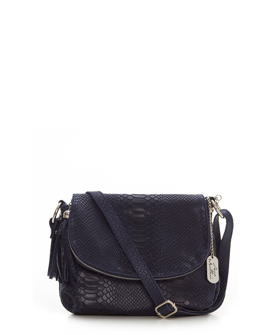 Navy leather snake-effect crossbody Sale - anna morellini