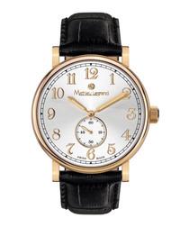 Classique steel & leather watch