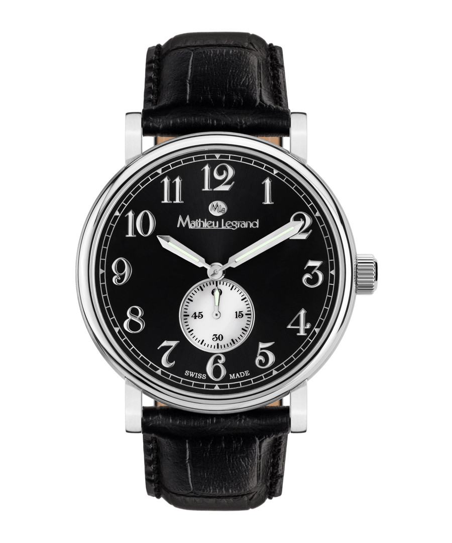 Classique steel & black leather watch Sale - mathieu legrand