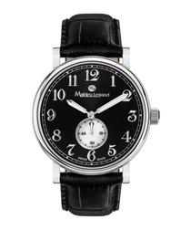 Classique black leather watch
