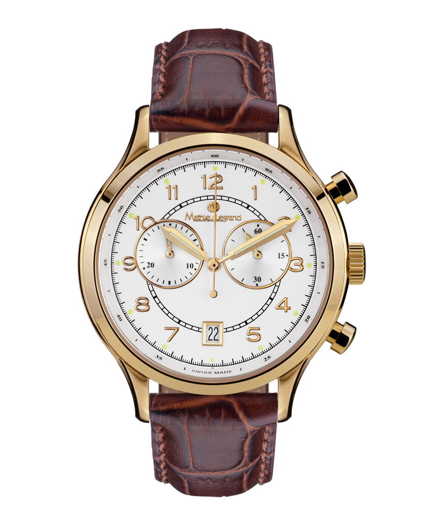 Herrenuhr Orbite brown leather watch Sale - mathieu legrand