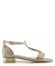 Gold-tone leather T-bar sandals