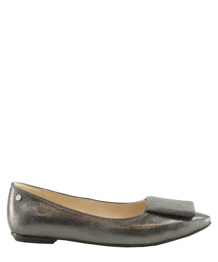 Dark grey metallic leather flats Sale - BOSCCOLO