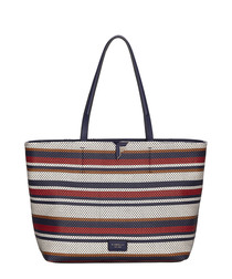 Tate blue woven striped tote bag