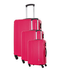3pc Antegria pink spinner suitcase nest