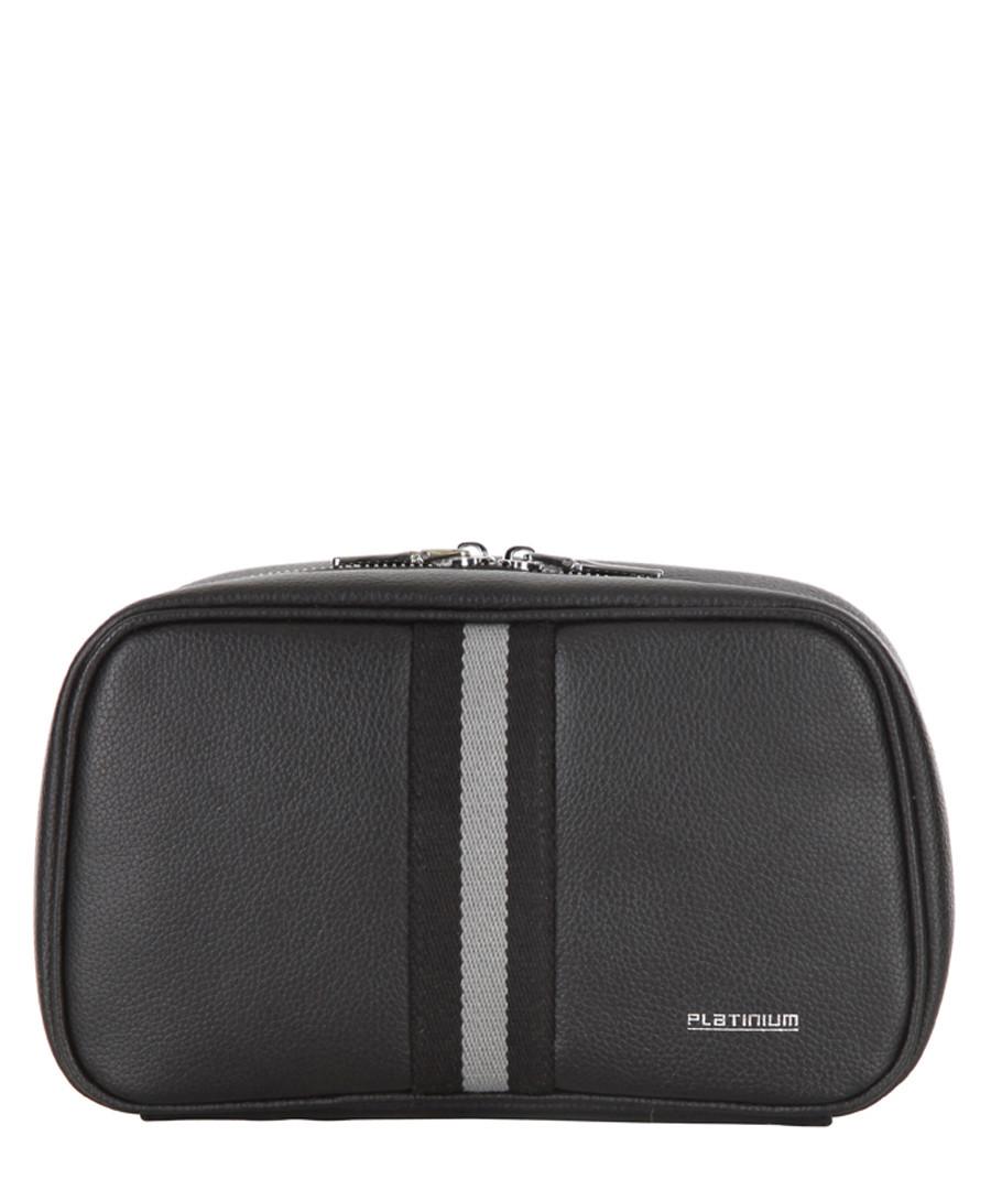 Black Sport leather toiletry bag Sale - platinium