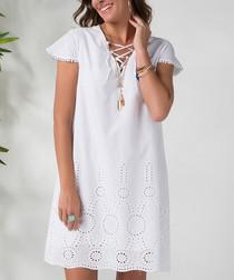 White pure cotton cut-out hem dress