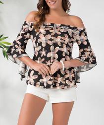Black cotton blend floral Bardot top