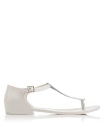 Honey Chrome white T-bar sandals