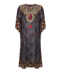Black & red jewel print kaftan