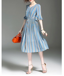 Blue & grey stripe midi dress