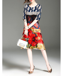 Multi-coloured pure silk print dress