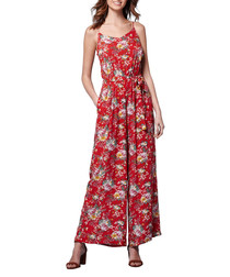 Red floral print strappy jumpsuit