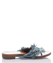 Blue fringed leather slider sandals