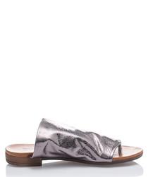 Silver leather slider sandals