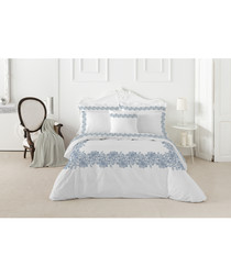 Leire single white pure cotton duvet set