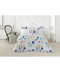 Sapphire white cotton single duvet set