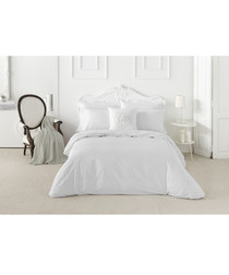Liso king white cotton duvet set