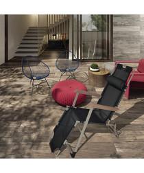 2pc black foldable reclining chair set