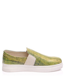 Women's Manyo green leather sneakers