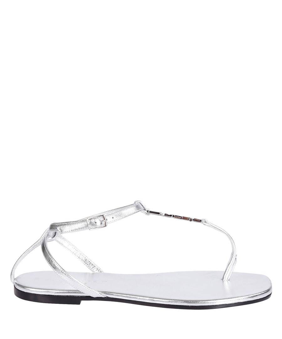 Nu Pied silver leather T-bar sandals Sale - Saint Laurent