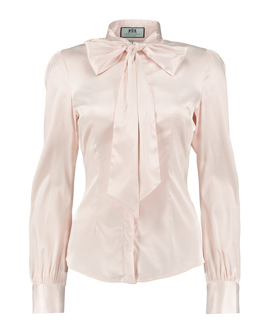 eba6d9f3aff0 Discount Women's Cream Fitted Satin Blouse - Pussy Bow | SECRETSALES