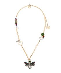 Gold-tone butterfly & heart necklace