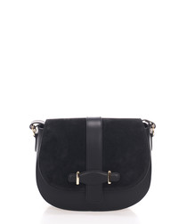 Black suede saddle cross body bag