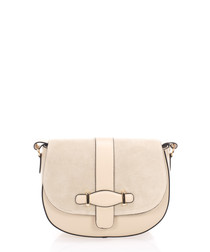 Taupe suede saddle cross body bag