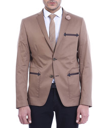 Brown embroidered arrow slim blazer