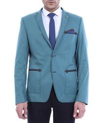 Blue embroidered arrow slim blazer