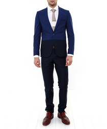 2pc navy two-tone single breasted suit